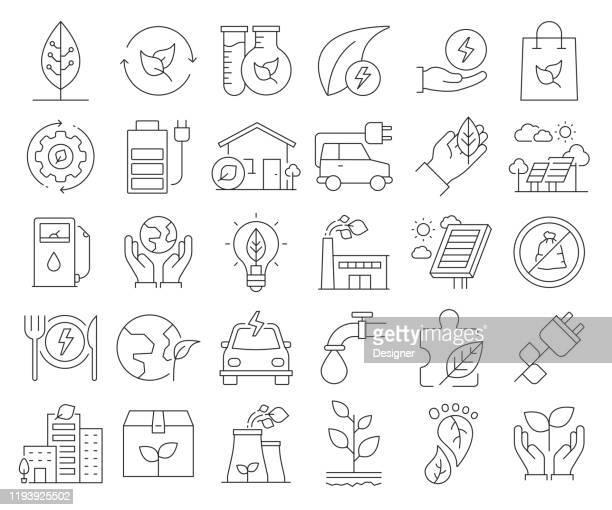 illustrazioni stock, clip art, cartoni animati e icone di tendenza di semplice set di icone di linea vettoriale relative all'energia verde. insieme outline symbol. tratto modificabile - consumismo