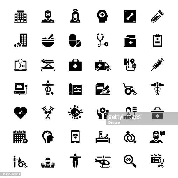 simple set of healthcare and medical related vector icons. symbol collection - cardiologist stock illustrations