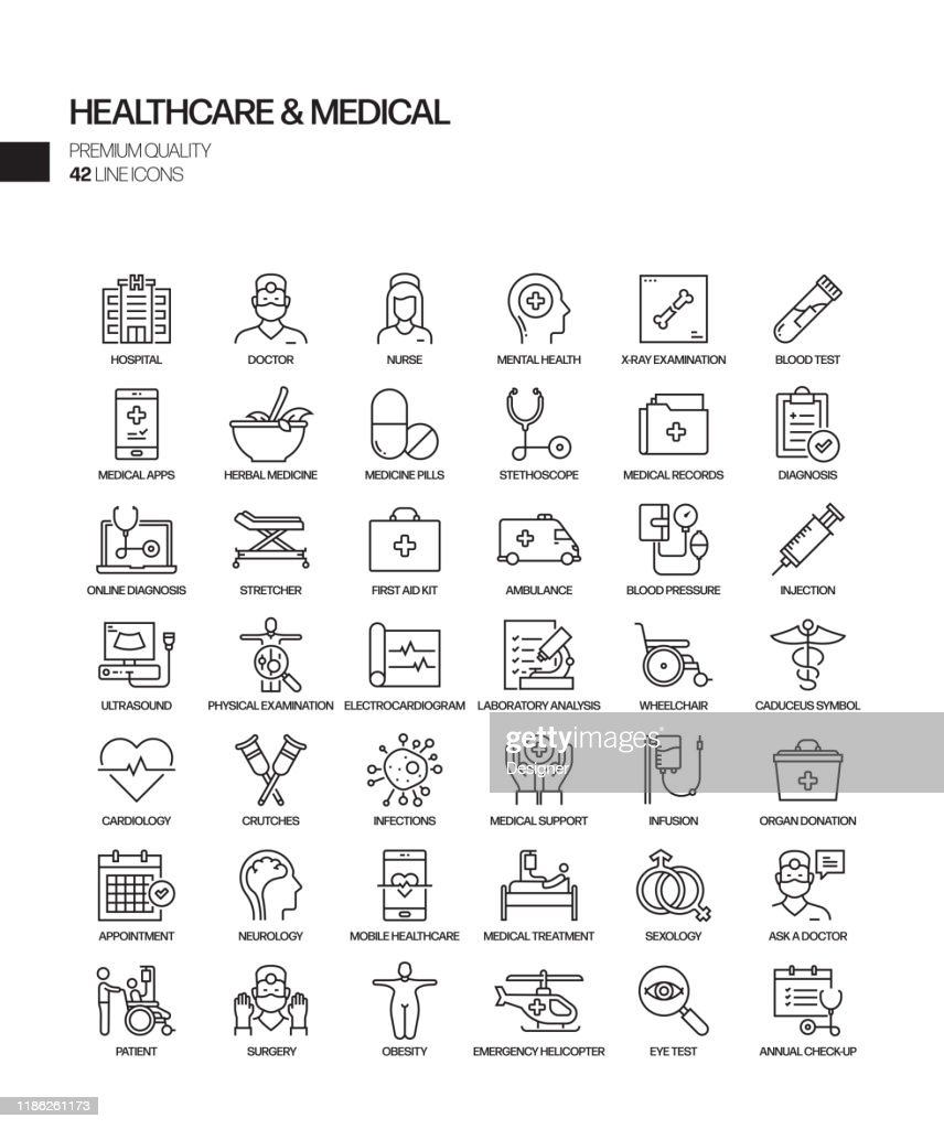 Simple Set of Healthcare and Medical Related Vector Line Icons. Outline Symbol Collection : Stock Illustration