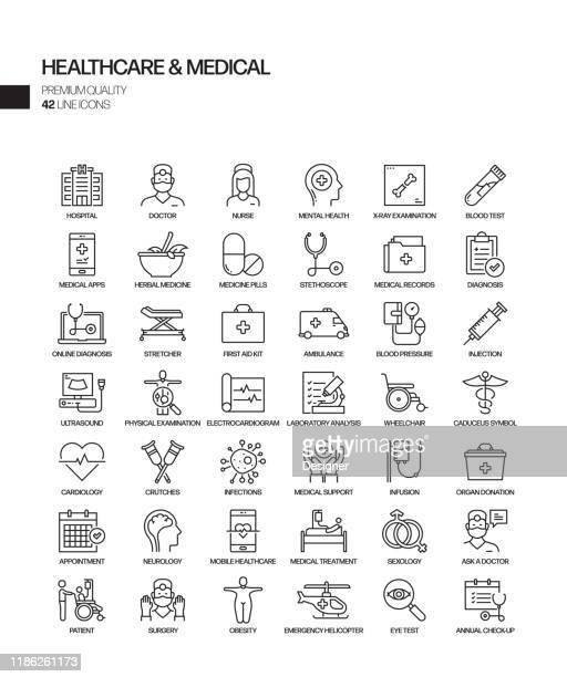 simple set of healthcare and medical related vector line icons. outline symbol collection - image technique stock illustrations