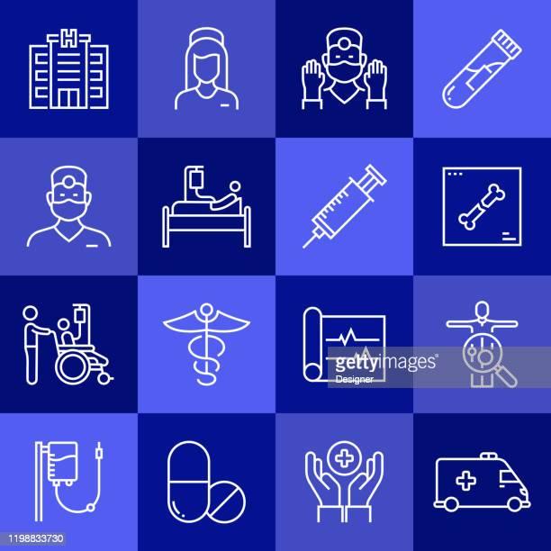 ヘルスケアと医療関連のベクトルラインアイコンのシンプルなセット。アウトライン記号コレクション - 超音波検査点のイラスト素材/クリップアート素材/マンガ素材/アイコン素材
