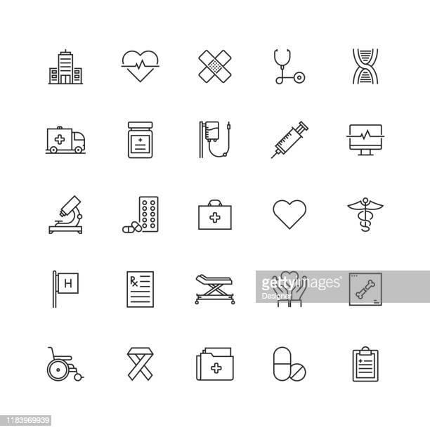 ヘルスケアと医学関連のベクトルラインアイコンのシンプルなセット - 医院点のイラスト素材/クリップアート素材/マンガ素材/アイコン素材