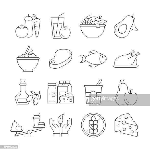 simple set of healthy food related vector line icons. outline symbol collection. editable stroke - fatty acid stock illustrations