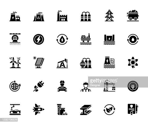 ilustrações, clipart, desenhos animados e ícones de jogo simples de ícones do vetor relacionados à indústria de pesados e de poder. coleção de símbolos - fábrica petroquímica
