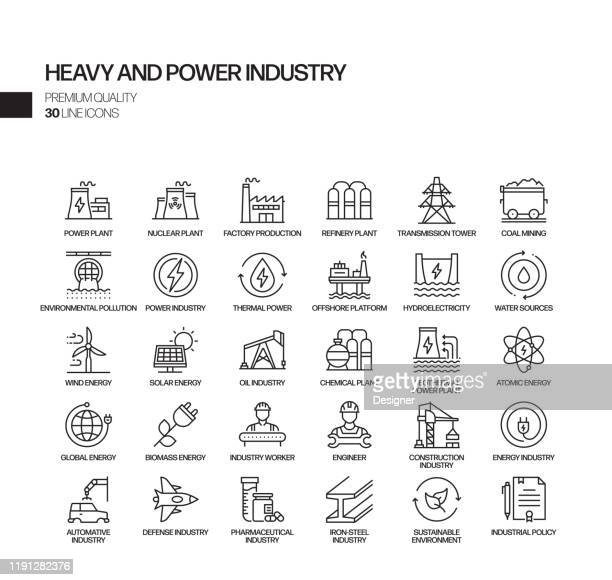 simple set of heavy and power industry related vector line icons. outline symbol collection - industry stock illustrations