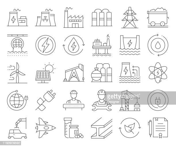 simple set of heavy and power industry related vector line icons. outline symbol collection. editable stroke - nuclear energy stock illustrations