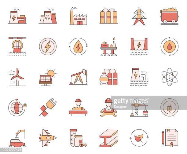 ilustrações, clipart, desenhos animados e ícones de jogo simples de ícones relacionados à linha de vetores da indústria de energia pesada e de poder. coleção de símbolos de esboço - fábrica petroquímica