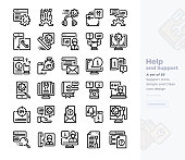 Simple Set of Help and Support.Vector  Icons. Editable Stroke. 48x48 Pixel Perfect