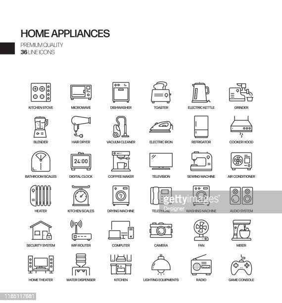 simple set of home appliances related vector line icons. outline symbol collection. - appliance stock illustrations