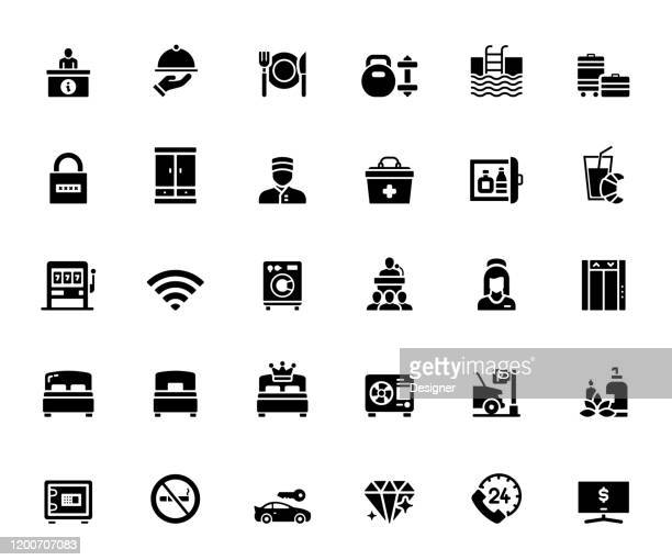 simple set of hotel services and facilities related vector icons. symbol collection. - nanny stock illustrations