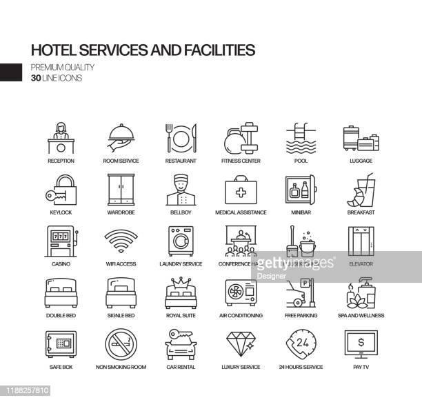 illustrazioni stock, clip art, cartoni animati e icone di tendenza di semplice set di servizi alberghieri e strutture relative icone vettoriali line. insieme outline symbol. - albergo
