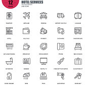 Simple set of hotel services related vector line icons