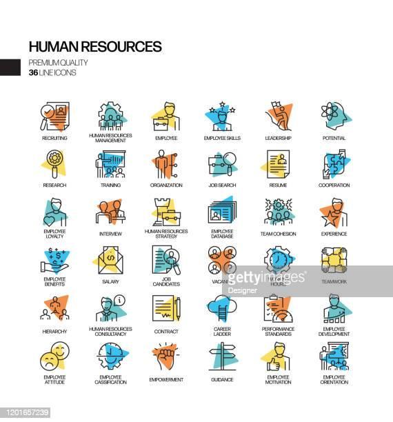 illustrazioni stock, clip art, cartoni animati e icone di tendenza di simple set of human resources related spotlight vector line icons. outline symbol collection. - reparto assunzioni