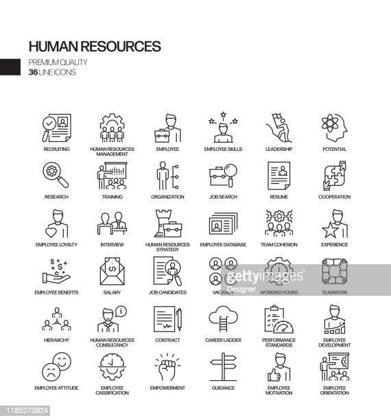 人事関連のベクトルラインアイコンのシンプルなセット。アウトライン記号コレクション。 - 人材採用点のイラスト素材/クリップアート素材/マンガ素材/アイコン素材