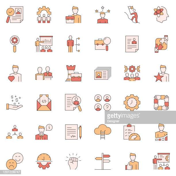 simple set of human resources related vector line icons. outline symbol collection. - recruiter stock illustrations
