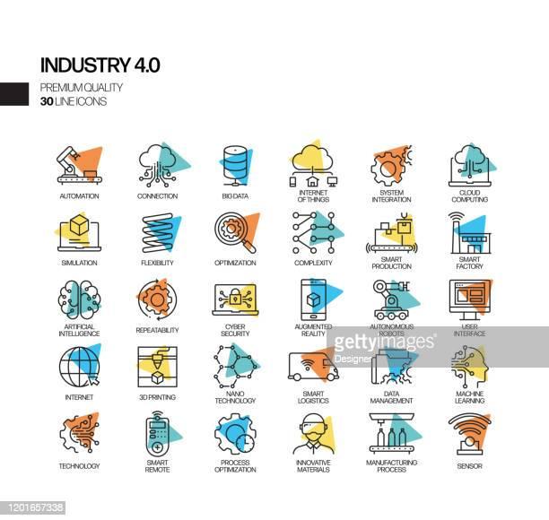 illustrazioni stock, clip art, cartoni animati e icone di tendenza di set semplice di icone della linea vettoriale spotlight correlate all'industria 4.0. insieme outline symbol. - software