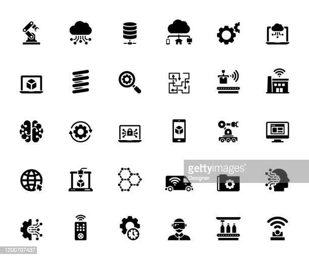 simple set of industry 4.0 related vector icons. symbol collection. - blockchain stock illustrations