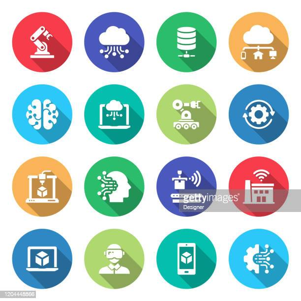 simple set of industry 4.0 related vector icons. symbol collection. - deep learning stock illustrations