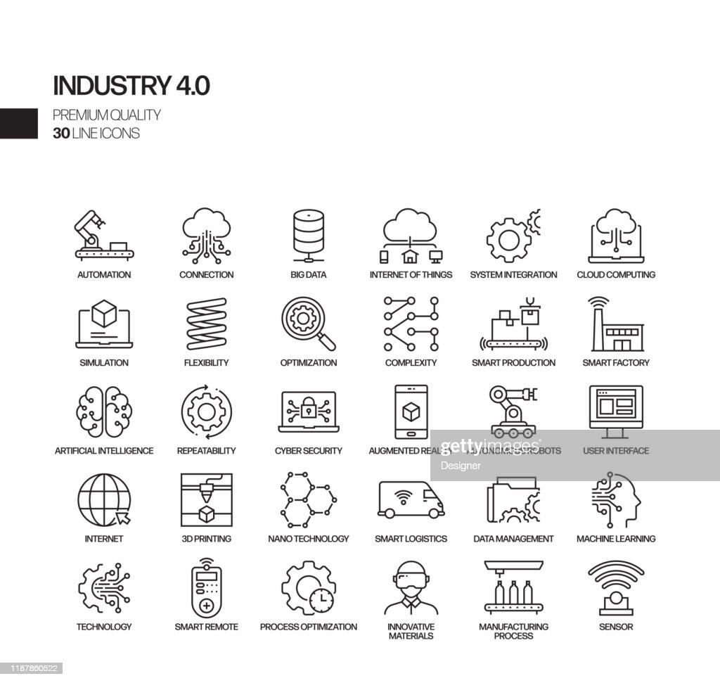 Set semplice di icone di linea vettoriale correlate all'Industria 4.0. Insieme outline symbol. : Illustrazione stock