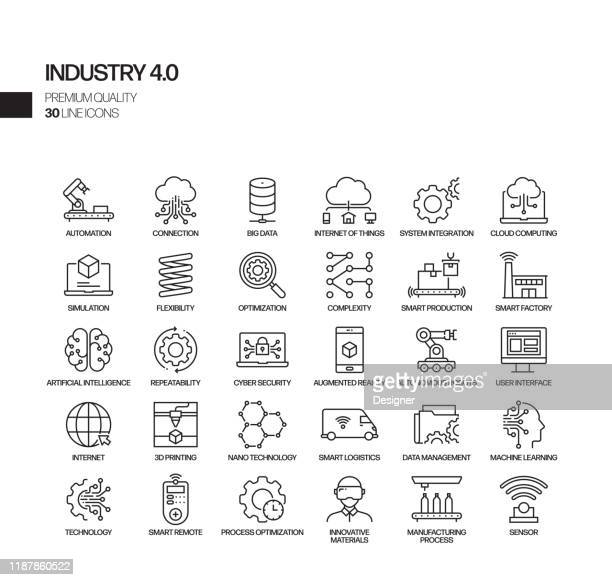 simple set of industry 4.0 related vector line icons. outline symbol collection. - industry stock illustrations