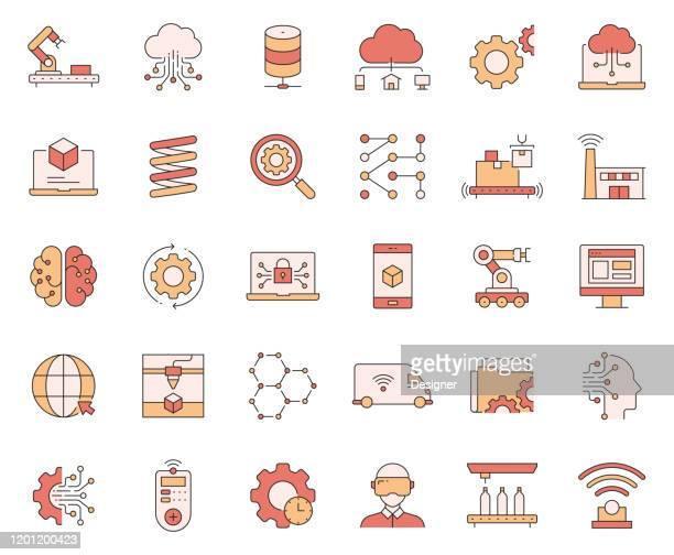 simple set of industry 4.0 related vector line icons. outline symbol collection. - deep learning stock illustrations