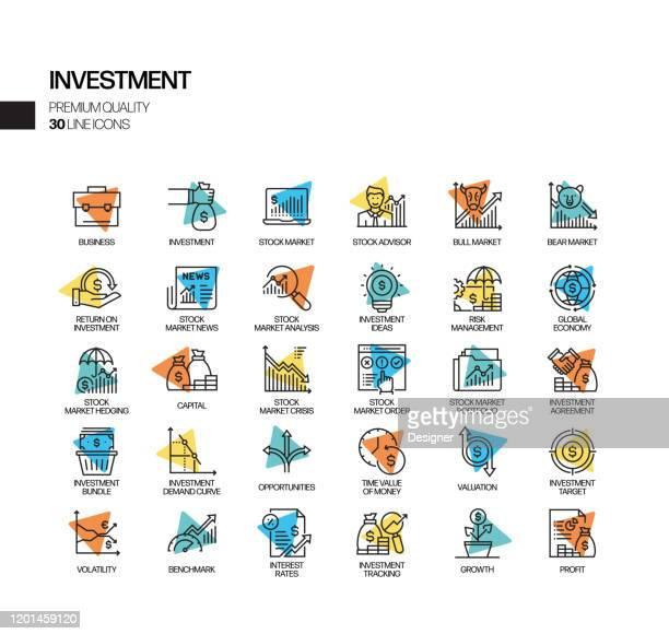 einfache satz von investition im zusammenhang mit spotlight vector line icons. umrisssymbol-auflistung - kapitalrendite stock-grafiken, -clipart, -cartoons und -symbole