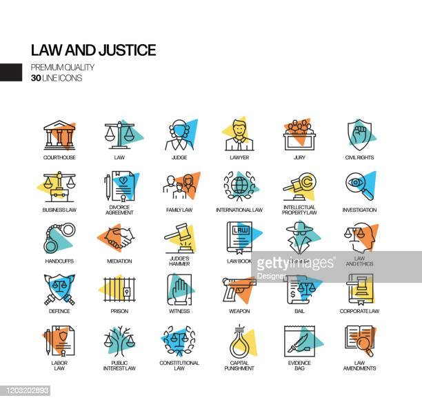 simple set of law and justice related spotlight vector line icons. outline symbol collection. - juror law stock illustrations