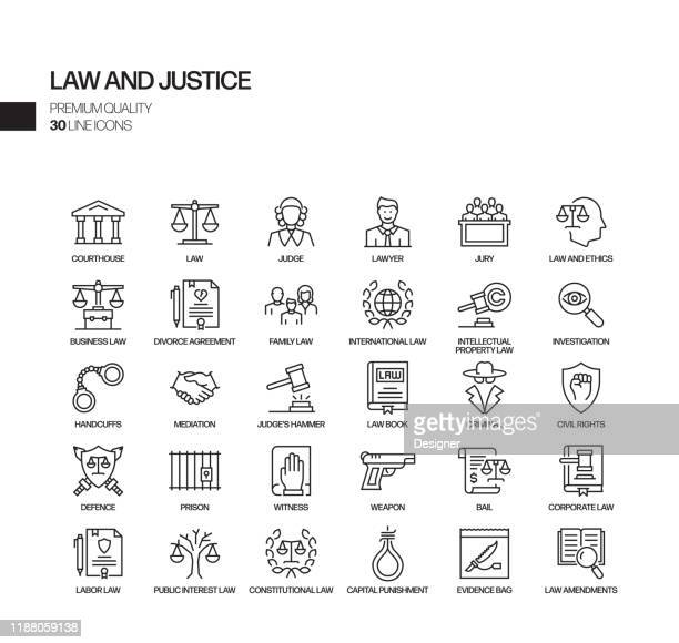 simple set of law and justice related vector line icons. outline symbol collection. - courthouse stock illustrations
