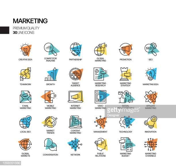 illustrazioni stock, clip art, cartoni animati e icone di tendenza di semplice set di icone della linea vettoriale spotlight correlate al marketing. insieme outline symbol - nuova impresa