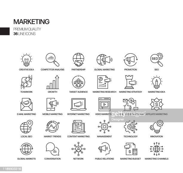 illustrations, cliparts, dessins animés et icônes de simple ensemble d'icônes de ligne vectorielle liée au marketing. collection de symboles de contour - marketing numérique