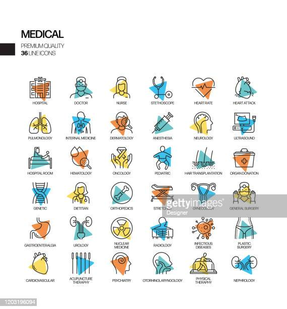 simple set of medical and health related spotlight vector line icons. outline symbol collection. - diarrhea stock illustrations