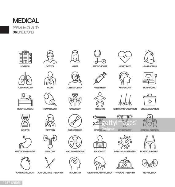 simple set of medical and health related vector line icons. outline symbol collection. - cardiologist stock illustrations