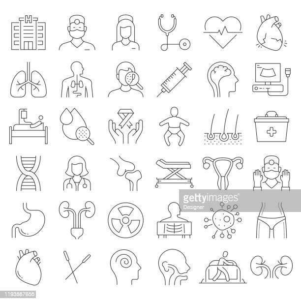 simple set of medical and health related vector line icons. outline symbol collection. editable stroke. - surgeon stock illustrations