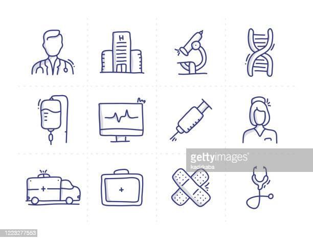 医学関連落書きベクトル線アイコンのシンプルなセット - レントゲン撮影装置点のイラスト素材/クリップアート素材/マンガ素材/アイコン素材