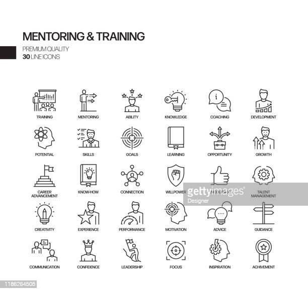 simple set of mentoring and training related vector line icons. outline symbol collection - teaching stock illustrations