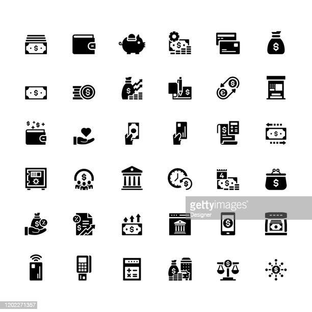 simple set of money related vector icons. symbol collection - inflation stock illustrations