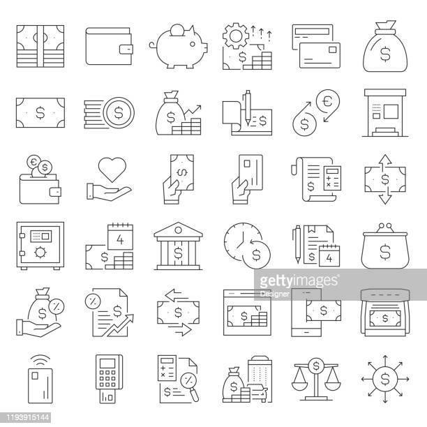 simple set of money related vector line icons. outline symbol collection. editable stroke - inflation stock illustrations