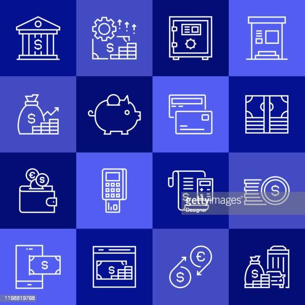 ilustraciones, imágenes clip art, dibujos animados e iconos de stock de conjunto simple de iconos de línea vectorial relacionados con el dinero. colección de símbolos de esquema - impuestosobrelarenta