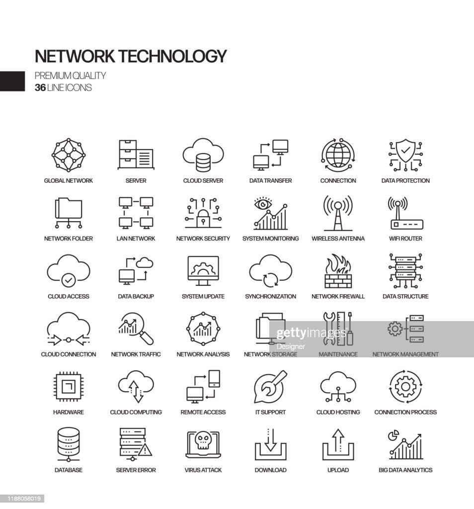 ネットワーク技術関連ベクトルラインアイコンのシンプルなセット。アウトライン記号コレクション。 : ストックイラストレーション