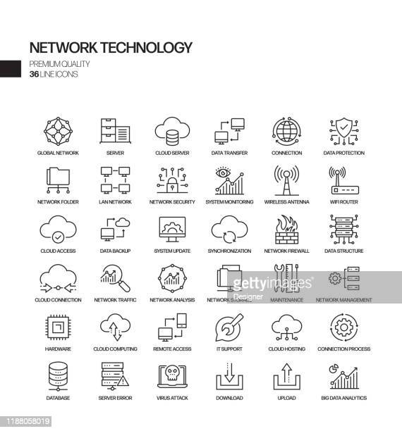 simple set of network technology related vector line icons. outline symbol collection. - data stock illustrations
