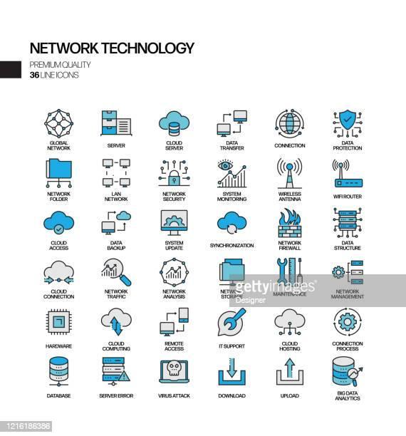 illustrazioni stock, clip art, cartoni animati e icone di tendenza di set semplice di icone di linee vettoriali correlate alla tecnologia di rete. insieme outline symbol. - centro elaborazione dati