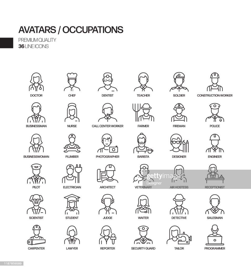 職業とアバター関連のベクターラインアイコンのシンプルなセット。アウトライン記号コレクション。 : ストックイラストレーション