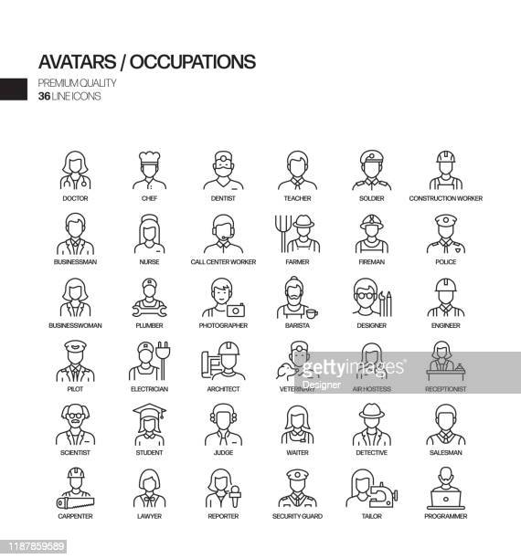 simple set of occupations and avatars related vector line icons. outline symbol collection. - rescue services occupation stock illustrations