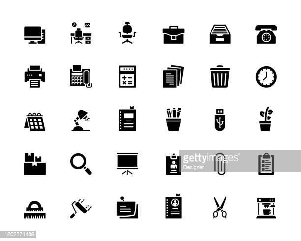 einfache reihe von office- und workspace-bezogenen vektorsymbolen. symbol-sammlung - papierkram stock-grafiken, -clipart, -cartoons und -symbole