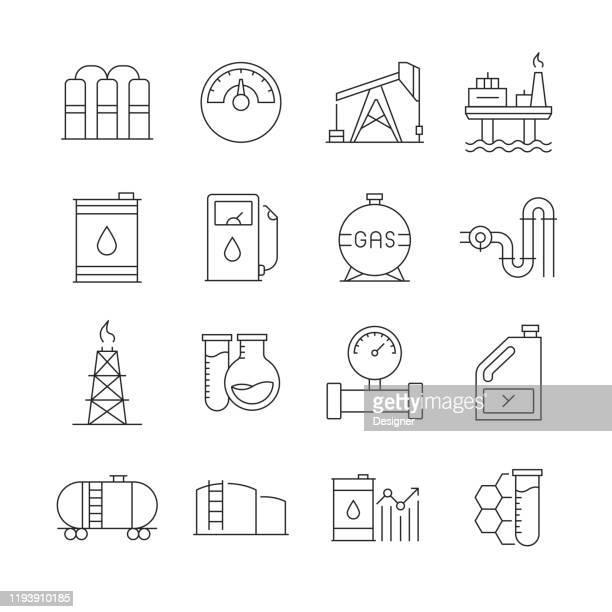 石油産業関連ベクトルラインアイコンのシンプルなセット。アウトライン記号コレクション。編集可能なストローク - 鉱業点のイラスト素材/クリップアート素材/マンガ素材/アイコン素材