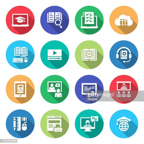simple set of online education related vector icons. symbol collection. - tutorial stock illustrations