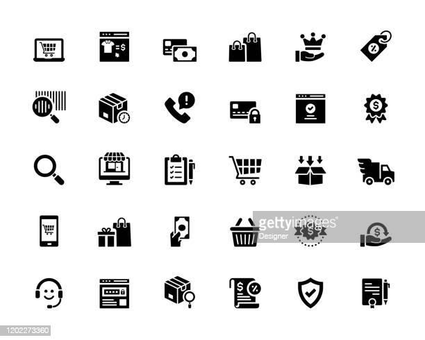 illustrazioni stock, clip art, cartoni animati e icone di tendenza di semplice set di icone vettoriali correlate al marketplace online. collezione symbol. - ordine