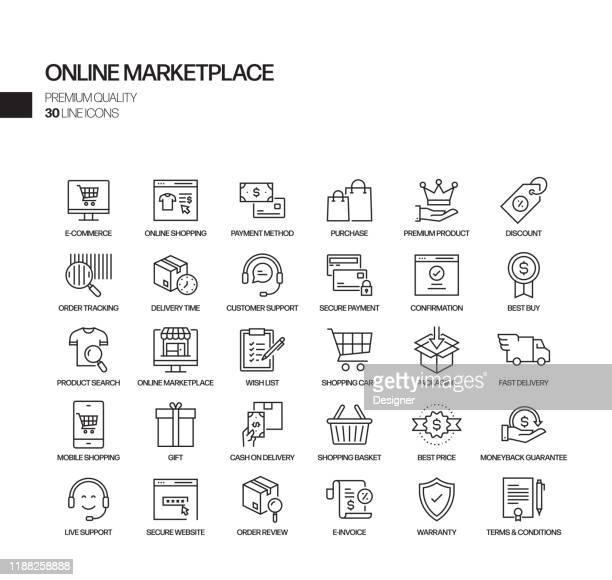 illustrazioni stock, clip art, cartoni animati e icone di tendenza di set semplice di icone di linee vettoriali correlate al marketplace online. insieme outline symbol. - ordine