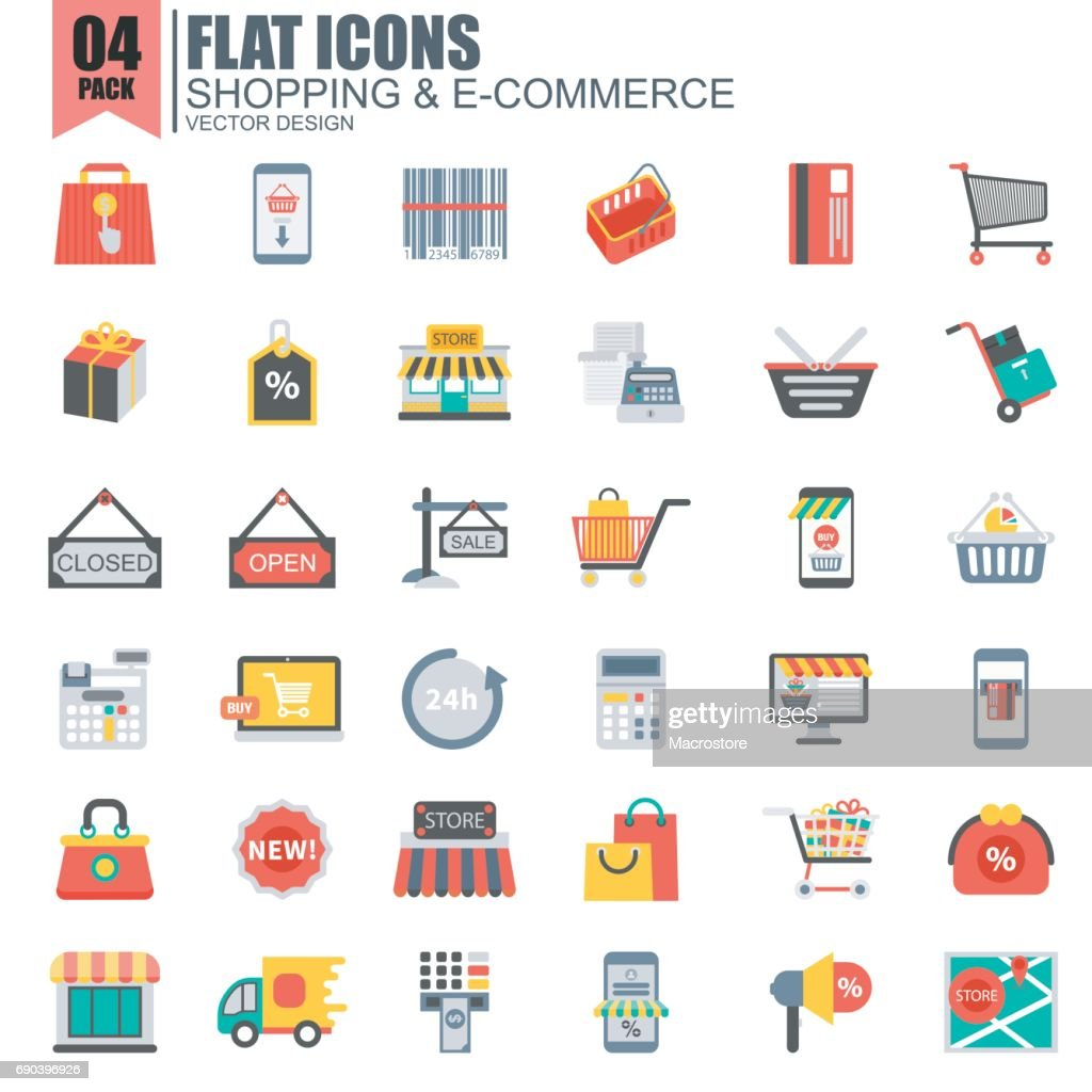 Simple set of online shopping flat icons
