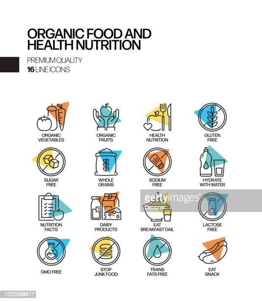 有機食品と健康栄養関連スポットライトベクトルラインアイコンのシンプルなセット。アウトラインシンボルコレクション - 生点のイラスト素材/クリップアート素材/マンガ素材/アイコン素材